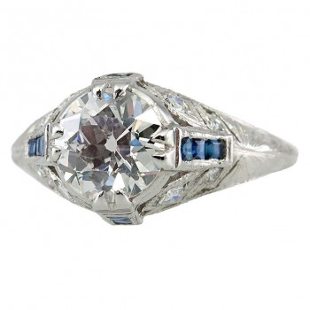 Edwardian 1.60 CT Engagement Ring with Sapphire Accents