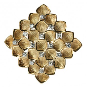 Tiffany Gold Geometrical Brooch with Diamonds
