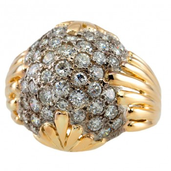 Dome Ring with Pave Diamonds