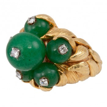 David Webb Chrysoprase and Diamond 18K Yellow Gold Ring Circa 1970