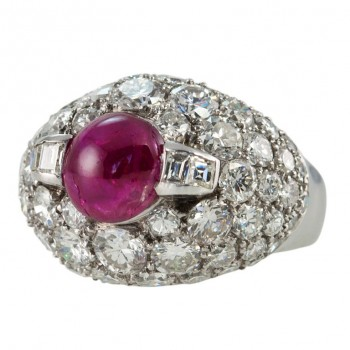 Vintage Diamond Cluster and Ruby Dome Platinum Ring