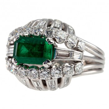 Vintage 1950s Emerald And Diamond Bombe Platinum Cocktail Ring