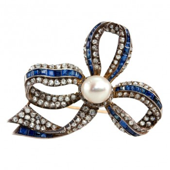 Sapphire and Diamond and Pearl Bow Brooch
