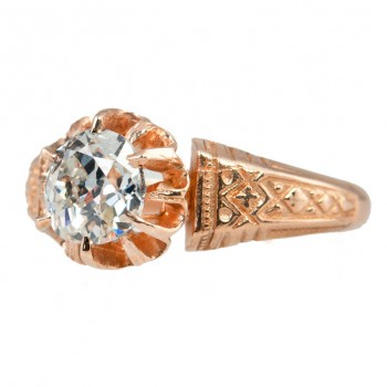 Victorian 0.96 Carat Old Mine Cut Diamond and 14K Rose Gold Engagement Ring