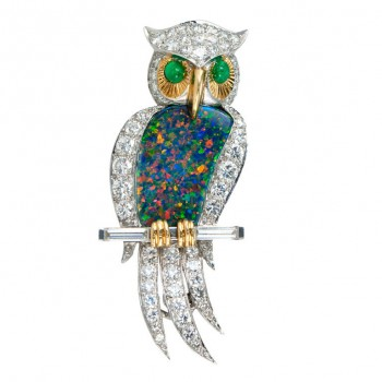 Opal Diamond Owl Pin