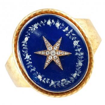 Victorian Starburst Memorial Bracelet w/ Blue Enamel