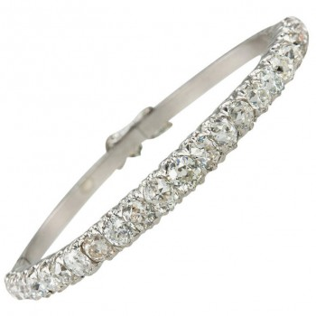 Old Mine Cut Diamond Bangle Bracelet