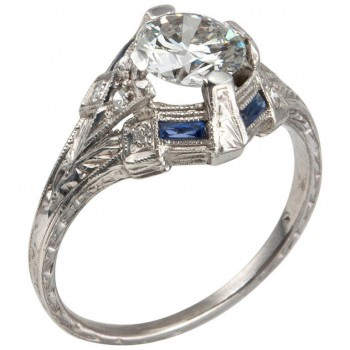 Art Deco 0.93 Carat Diamond Engagement Ring with Sapphire Accents