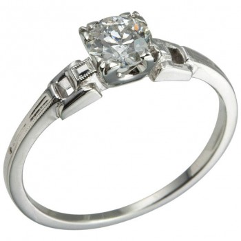 Art Deco 0.55 Carat Old European Cut Diamond Platinum Ring