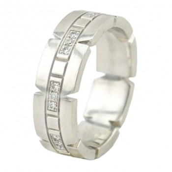 Cartier Tank Francaise 18K White Gold and Diamond Ring