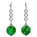 Edwardian Jade, Diamond and Enamel Dangle Earrings