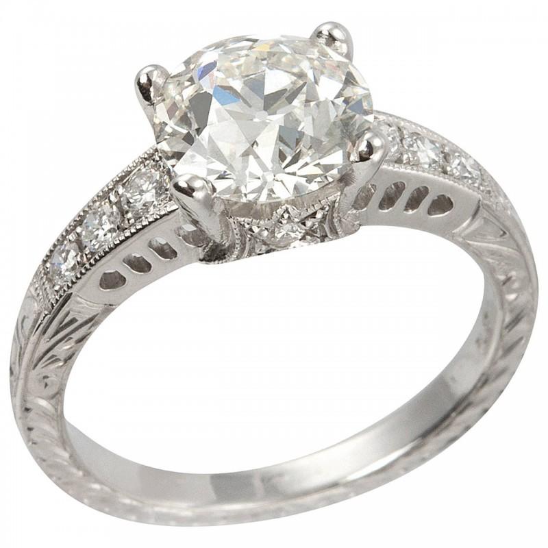 1.91 Carat Old European Cut Diamond and Platinum Engagement Ring