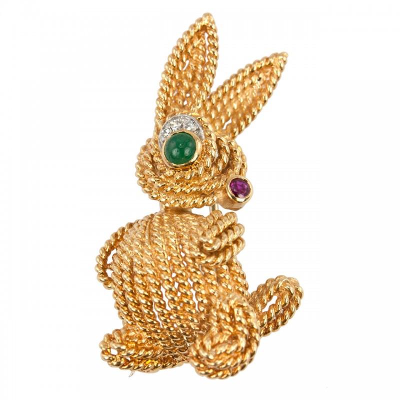Van Cleef & Arpels Gold Bunny Brooch, Circa 1970s