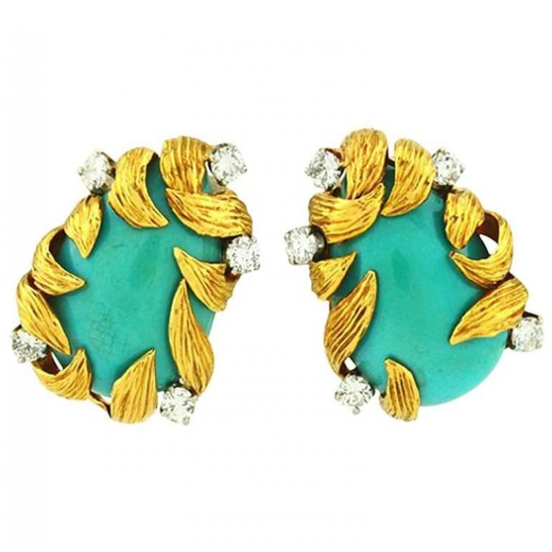 David Webb Turquoise and Diamond Earrings, Circa 1970