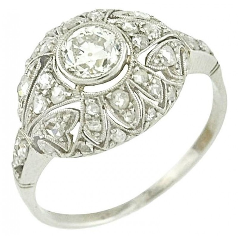 Platinum Diamond Edwardian filigree Engagment Ring