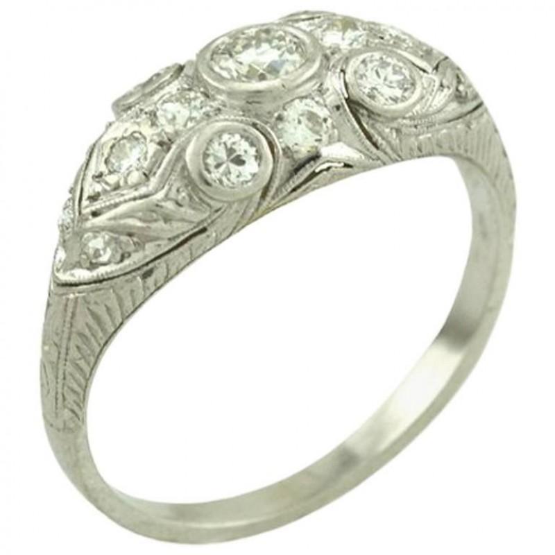 Art Deco Old European Cut Diamond and Platinum Ring Circa 1930