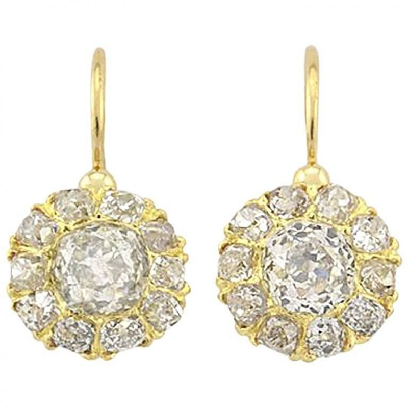 Victorian 18K Yellow Gold Old Mine Cut Diamond Cluster Earrings