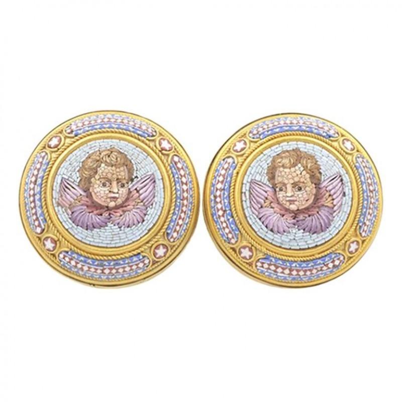 Antique Cupid Micro Mosaic 18K Gold Earrings