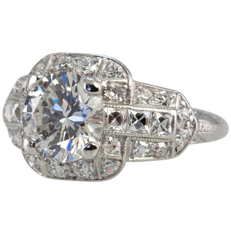 Art Deco Engagement Ring With 1.53 Carat Diamond