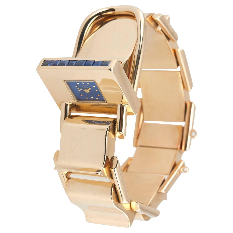 Retro Gold Bracelet Watch with Sapphires, Circa 1950s