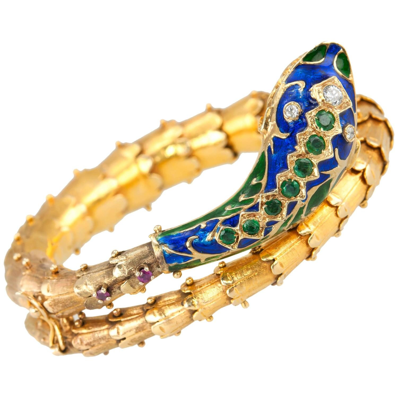 Gold and Enamel Snake Bracelet, Circa 1950s