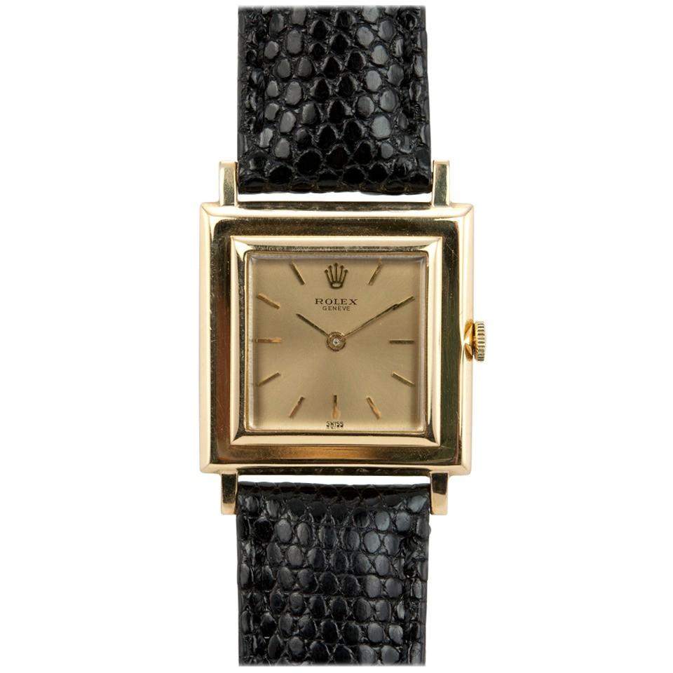 Rolex Yellow Gold Square Wristwatch circa 1960s