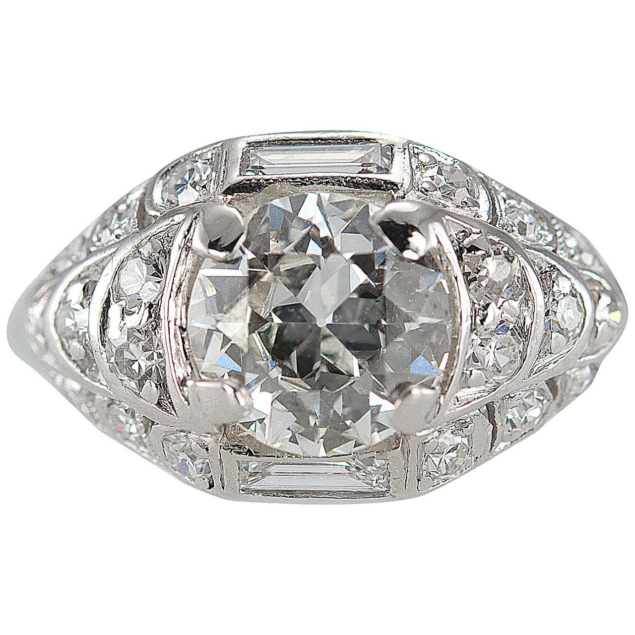 1.18 Carat Old European Cut Diamond and Platinum Engagement Ring