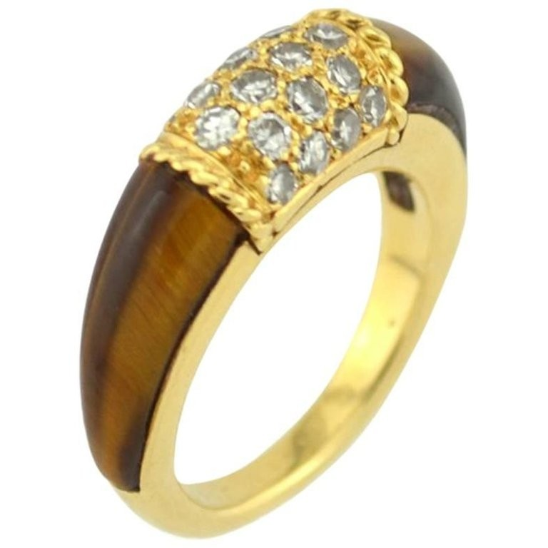 Van Cleef and Arpels 18K Gold Philippine Ring with Diamonds and Tiger's Eye