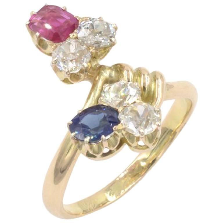 Antique Russian Diamond, Sapphire, Ruby 14K Yellow Gold Ring