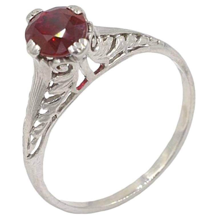 GIA Certified 1.07 Carat Natural Burma Ruby and Platinum Engagement Ring