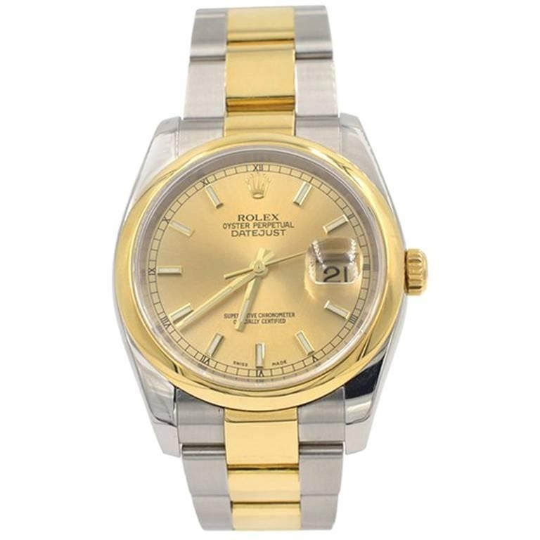Rolex Two-Tone 18K Gold and Steel DateJust Wristwatch, Ref 116203, 2007