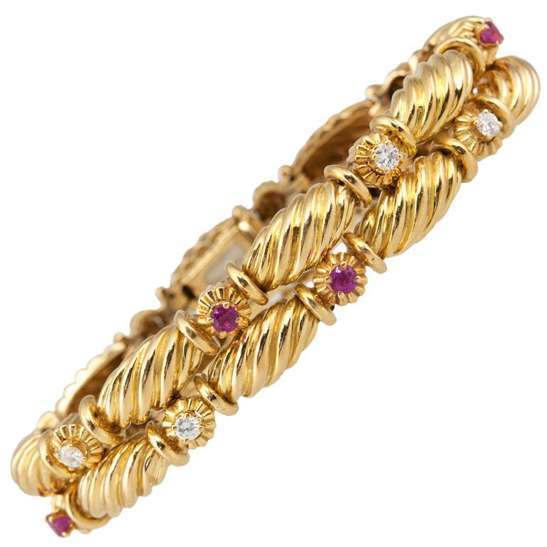 Tiffany and Co 18K Yellow Gold Ruby and Diamond Double Row
