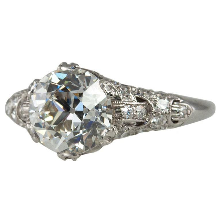 2.19ct Old European Cut Diamond and Platinum Engagement Ring