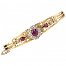 Victorian Burma Ruby and Diamond Cluster Gold Bangle