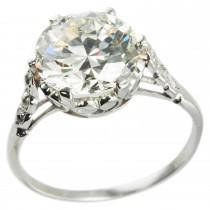 Edwardian 3.36 Carat Old European Cut Diamond Platinum Ring