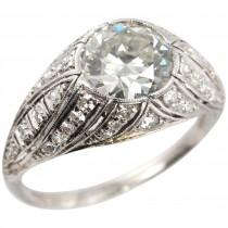 1.29 Carat Diamond and Platinum Art Deco Engagement Ring