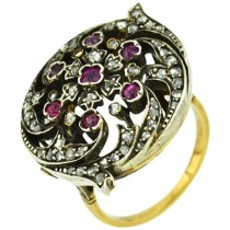 Victorian Ruby and Rose Cut Diamond Ring