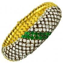 Emerald and Diamond Gold Link Bracelet
