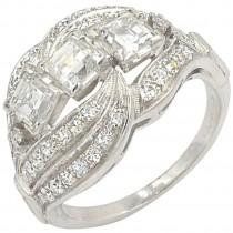 Vintage 3-Square Diamond and Platinum Ring Circa 1930