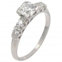 Art Deco 0.50 Carat Diamond and Platinum Engagement Ring
