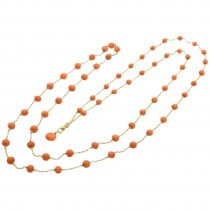 Victorian Coral and 14K Gold Long Chain Circa 1900
