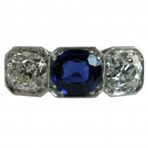 GIA certified Sapphire and Diamond 3 stone Ring
