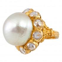 Buccellati Pearl and Rose Cut Diamond Cluster 18K Yellow Gold Ring