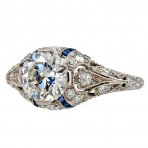 Engagement Ring with 1.24ct Diamond With Sapphire Accents