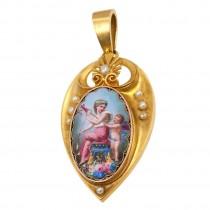 Painted Woman & Cupid Locket