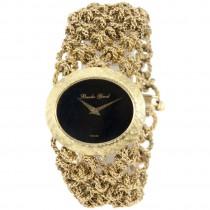 Bueche Girod Lady's Yellow Gold Bracelet Watch with Onyx Dial
