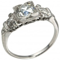 Art Deco 1.14 Carat Diamond Platinum Engagement Ring