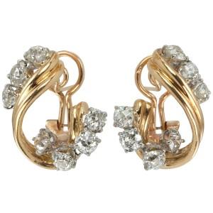 Old European Cut Diamond Platinum and Gold Twist Earrings, Circa 1950s