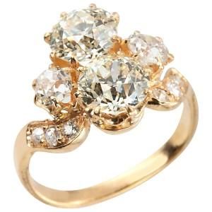 "Victorian ""Toi Et Moi"" Diamond and 18K Gold Ring"