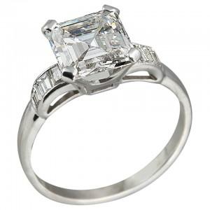 2.26ct Square Emerald Cut Diamond Engagement Ring, Circa 1930s